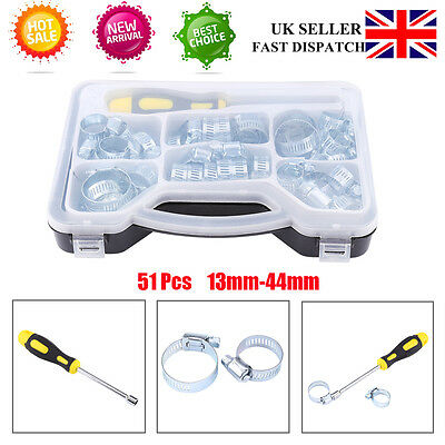 Kit 51Pcs Stainless Steel Hose Spring Clips Set Pipe Clamp Hex Driver + Box Sale