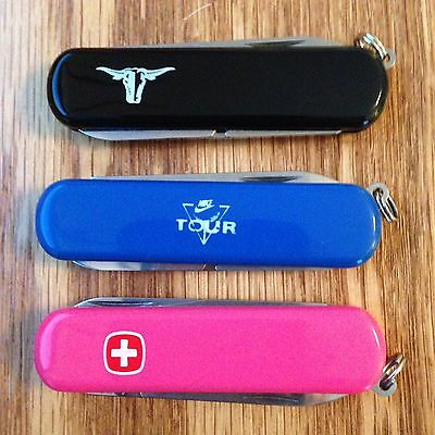Lot of 3 New Wenger Swiss Army Knife Esquires Black,Hot Pink & Medium Blue #1177