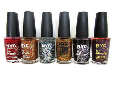 6 NYC NEW York Color In a Minute Glitter Sparkle Quick Dry/Top Coat ...