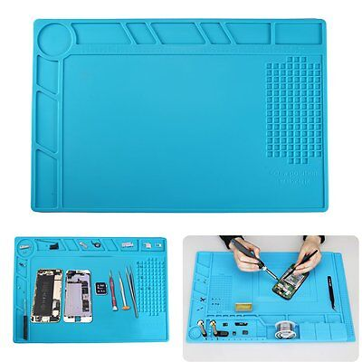 Heat-Insulation Silicone Repair Pad Desk Mat Platform Kit for Phone Tablet Blue