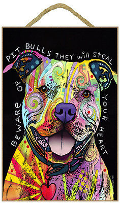 Pit Bull Beware Of Pit Bulls They Will Steal Dog Dean Russo Wood Plaque Sign