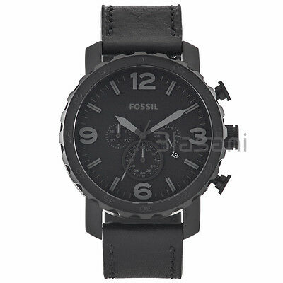 Fossil Original JR1354 Men's Nate Black Leather Watch 50mm