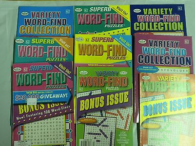 Lot of 9 Different Word Find Variety Puzzle books Search Find small 4x6 size NEW