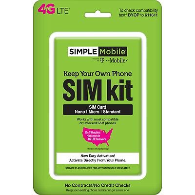 Simple Mobile Bring Your Own Phone SIM Card Activation Kit