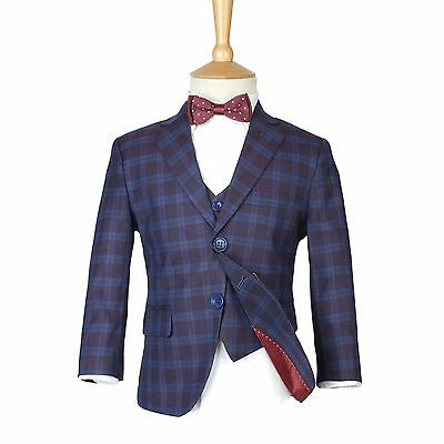 Boys Checkered Navy & Burgundy Suits Page Boy Blue Check Suit Kids Wedding Suit