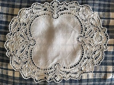 Antique French White Linen Doily - Richelieu Embroidery - Handmade