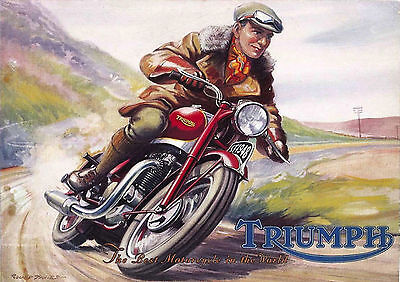1948 Triumph Speed Twin 500cc motorcycle poster