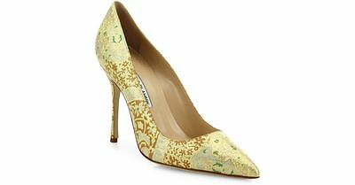 1487339fabf  785 New Manolo Blahnik BB 105 TEXTURED GOLD Leather Pumps Nappa Shoes Heel  40.5