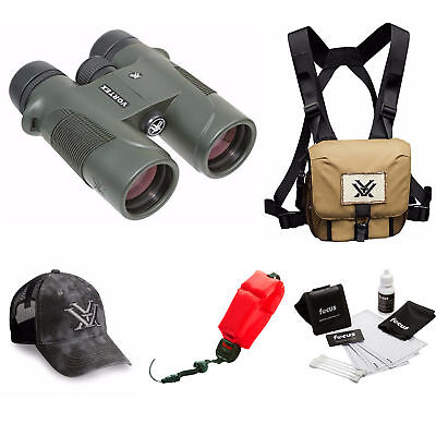 Vortex Diamondback 10x42 Binocular + Glasspak Harness Bundle