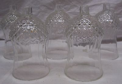 Homco / Home Interiors - 5 Short Tall Clear Glass Cathedral Votive Cups