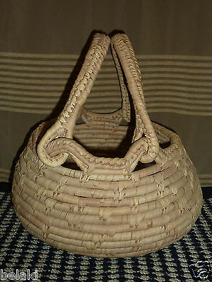 Vintage Woven Straw Junga Picnic Coil Basket Handles Tribal Islands