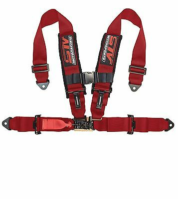 4 Point Racing Harness Sfi Latch & Link 3'' Seat Belt Red