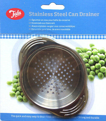 Tala Stainless Steel Food Can Drainer Jar Tin Strainer Kitchen Sieves Utensil
