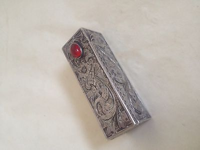 Vintage Antique 800 Silver Lipstick Case Holder Compact With Mirror