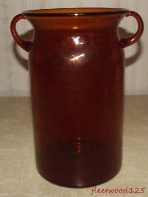 "Vintage Hand Blown Amber Glass Double Handled Jug Jar w Air Bubbles - 10.25"" T"