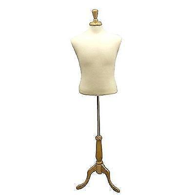 "White Male Fully Pinnable Mannequin Dress Form 38""33""40"" on Maple Tripod Base"
