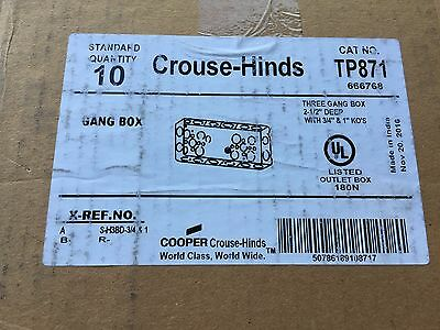 """10 NEW Cooper Crouse-Hinds CAT. TP871 3-Gang 2-1/2"""" Deep 3/4"""" & 1"""" KO's Boxes"""