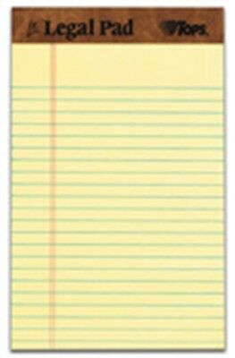 """Tops 75013 5"""" X 8"""" The Legal Pad™ Perforated Canary Narrow Ruled 3 Pack"""