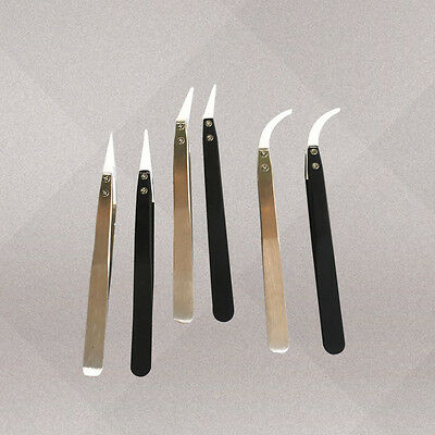 Stainless Steel Ceramic Heat Resistant Tweezers Non Conduct Crooked Pointed Tip