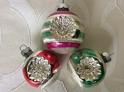 3 Vintage SHINY BRITE Striped Indent Ornaments