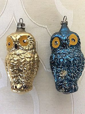 Vintage Figural Glass Blue Owl and Gold Owl Christmas Ornaments Poland Germany