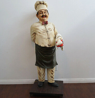 Large Vintage Rare Life Size Fat Italian Chef Baker Pizza Cook Restaurant Statue