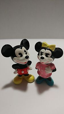 """Cute Vintage Mickey and Minnie Mouse Disney 3"""" Porcelain Figurines made in Japan"""