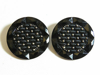 """Pair Large BLACK Glass BUTTON Lacy Silver Luster Faux Fabric FACETED 1 1/4"""""""