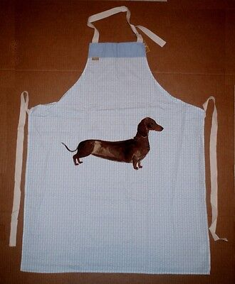Milly Green Dachshund Dog on a Blue with White Bone Background Cotton Apron