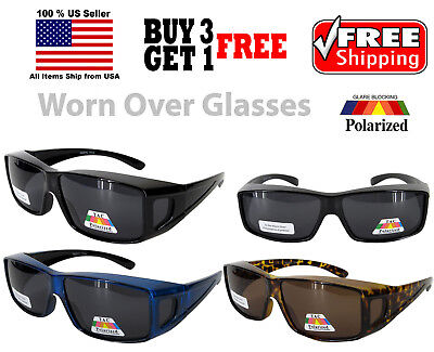 ANTI GLARE POLARIZED Dark Lens Sunglasses Worn Fit Over RX Glasses Wear Driving