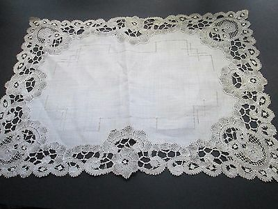 Antique  handmade  lace runner from  white cotton Brugge lace-linen center