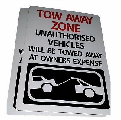 TOW AWAY ZONE NO PARKING sign Aluminium outdoor 315mm x 220mm