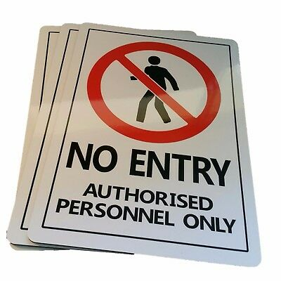 NO ENTRY AUTHORISED PERSONNEL ONLY sign Aluminium outdoor 315mm x 220mm