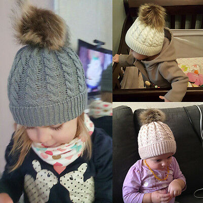 Winter Baby Girl Knitted Warm Cap Pom Bobble Hat Kids Girls Boys Warm Cotton Cap