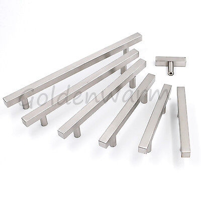 Stainless Steel Square Kitchen Cabinet Handles Cupboard Drawer Pulls Knob Modern
