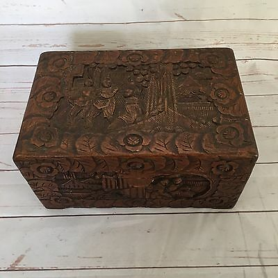 Antique Wooden Hand Carved Asian Chest Hong Kong Trinket Box Chinese Story