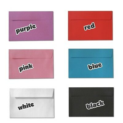 C5 (20)(50) Large Envelopes White Pink Red Purple Black Blue Colored Peel N Seal
