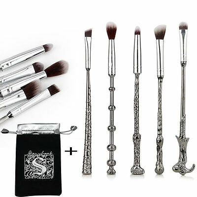5Pcs Harry Potter Magic Metal Beauty Makeup Brushes Wizard Wand Pinsel Set Tool