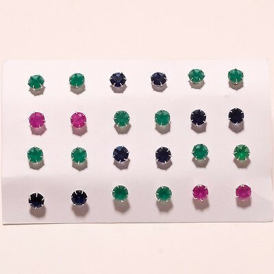 Green Emerald Red Ruby Blue Sapphire 925 Sterling Silver Earring Stud Jewelry