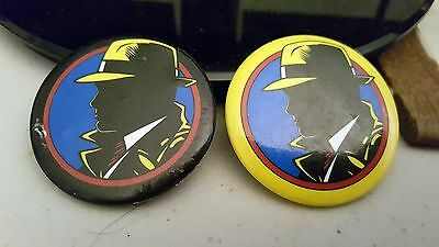 "Vintage Set Of 2 Buttons 1.5"" Each Pinback Dick Tracy Pins Badges Collectible"