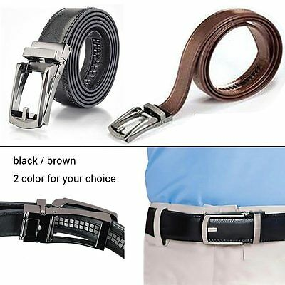 "Hot 2017 Comfort Click Belt Black/Brown PU Leather Belt No Holes Size 28"" to 48"""