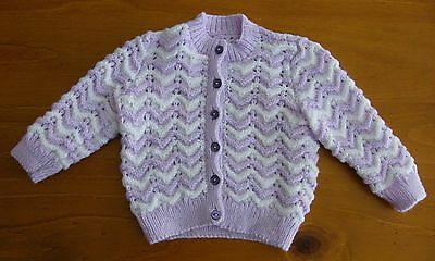 Baby Jacket: Hand Knitted - Lavender/white - 3 Months