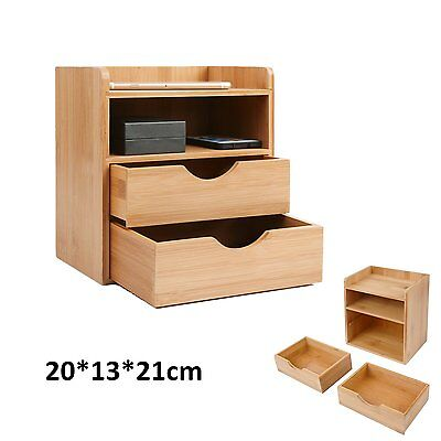 4-Tier Bamboo Storage Unit Bedroom Small Desk Cabinet Organizer With 2 Drawer UK