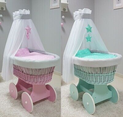 Tolo Pink / Mint Wicker Moses Basket + Chassis +Wooden Wheels + Bedding + Drape