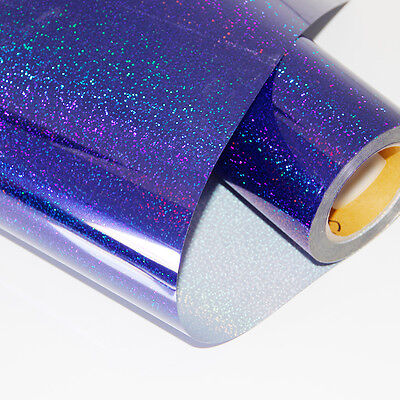 Royal Blue Holographic Heat Transfer Vinyl 20 inches on Fabric Tshirt Press Film