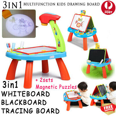 3 in 1 Kids Children Drawing Board Set Tracing Table Whiteboard Magnet Puzzle