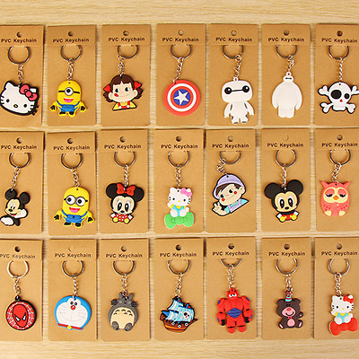 Cute Key Ring Anime Character Key Chain Rubber Metal Cartoon Charm Pendant Gift