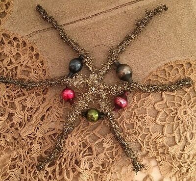 Antique Victorian Tinsel Star Feather Tree Christmas Ornament Mercury Glass Bead