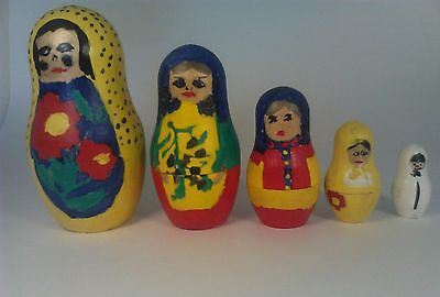 Russian Stacking Doll Set From Russia Hand Painted