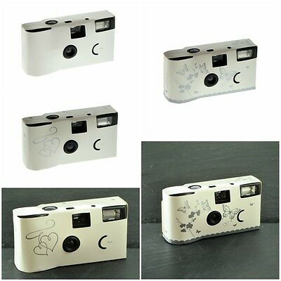 White & Silver Exposure Single Use Disposable Camera Plain Hearts Butterflies